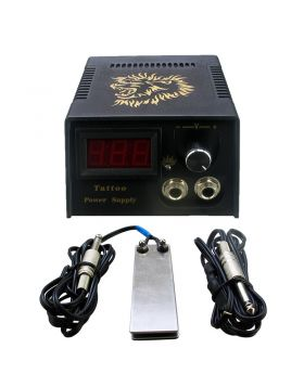 LCD Digital Tattoo Power Supply with Foot Pedal and Clip Cord Kit P142-2