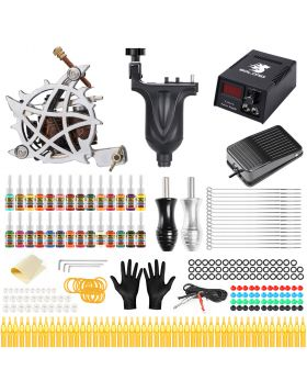 Solong Tattoo® Complete Tattoo Kit 2 Pro Machine Guns 28 Inks Power Supply Foot Pedal Needles Grips Tips TMK647C-1
