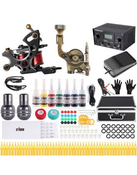 Solong Tattoo Kits for Beginners 2pcs Tattoo Coil Machine Gun 5Colors Ink Complete Tattoo Sets MK682A