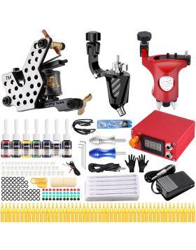 Solong Tattoo® Complete Tattoo Kit 3 Pro Rotary Tattoo Machine Guns 54 Inks Power Supply Foot Pedal Needles Grips Tips TK358