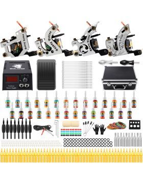 Solong Tattoo Starter Tattoo Kit 4 Pro Machine Guns 28 Inks Power Supply Carry Case TK459
